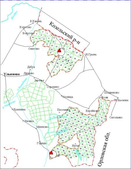 Карта заповедника Калужские засеки